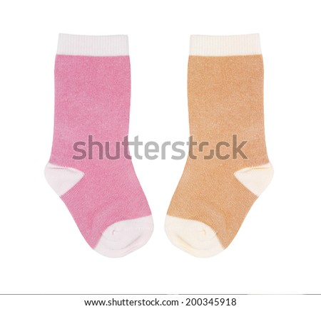 different baby socks isolated on white background - stock photo