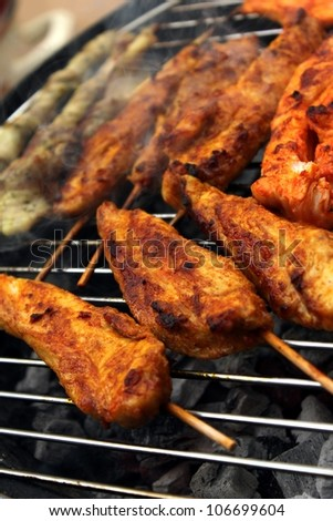 different barbeque meat