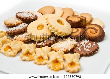 different biscuits isolated on white background - stock photo