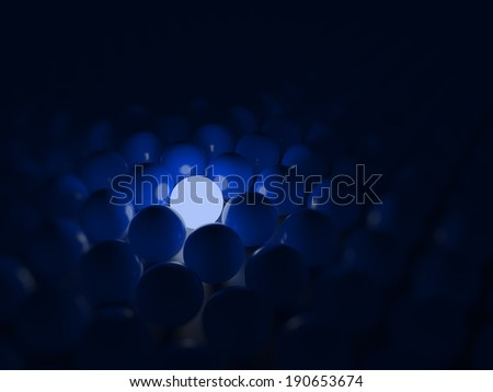 Different blue ball, standing out of the crowd concept - stock photo
