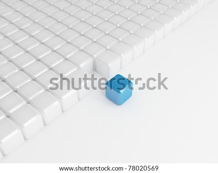 Different blue cube - stock photo