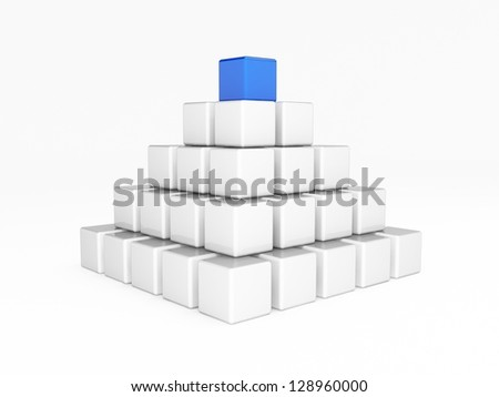 Different blue cube on top of the white ones - stock photo
