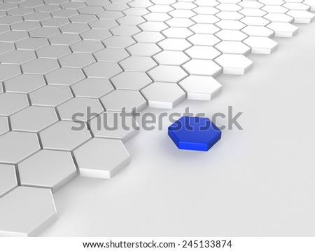 Different blue hexagon  - stock photo