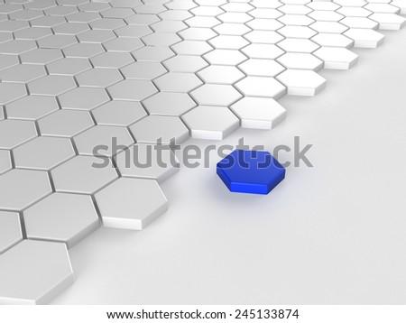 Different blue hexagon  - stock photo