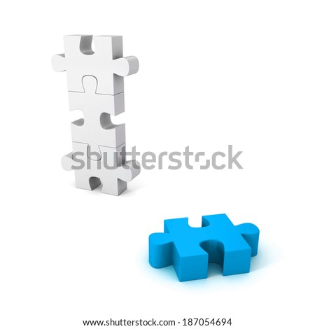different blue jigsaw puzzle piece out from white group. unique concept 3d render illustration - stock photo