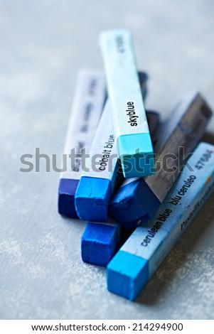 Different Blue Tone Pastels (soft pastels) - stock photo