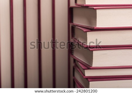 Different books close-up photo from an angle - stock photo