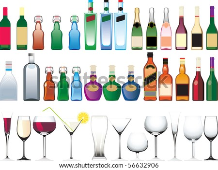 Different bottles, cups and glasses. raster