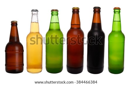 different bottles of beer on a white background - stock photo