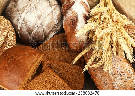 Different bread with ears close up