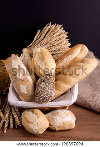 different breads and ears of wheat