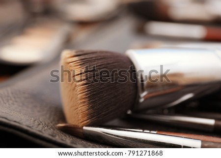 Different brushes of professional makeup artist, closeup