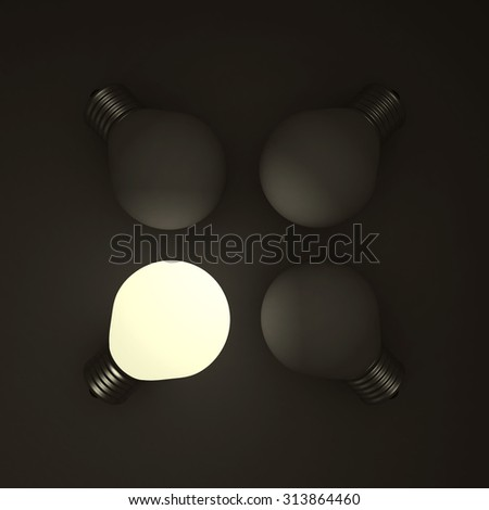 Different Business Concept Light Bulb In The Dark. 3d Render Illustration - stock photo
