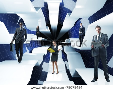 different businesspeople on 3d web concept - stock photo