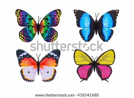 Different butterfly colourful isolated white background. - stock photo