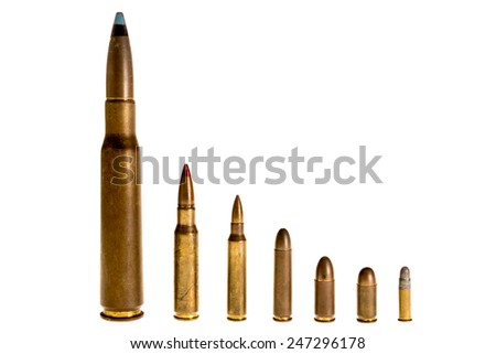 Different caliber bullets Aligned, on a white background - stock photo