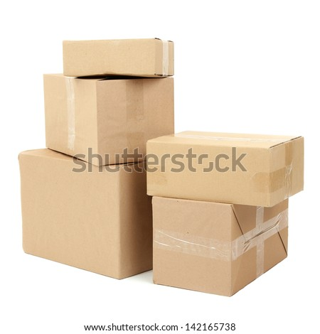Different cardboard boxes isolated on white - stock photo