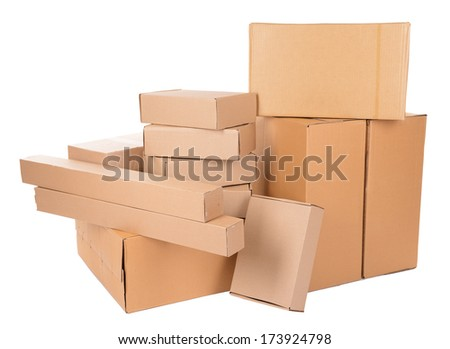 Different cardboard boxes isolated on white