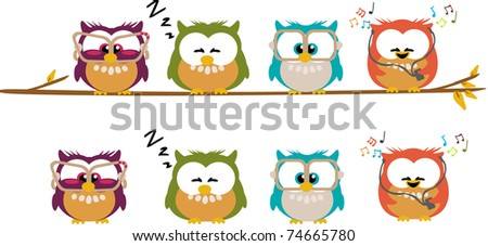 Different cartoon owls standing on a branch