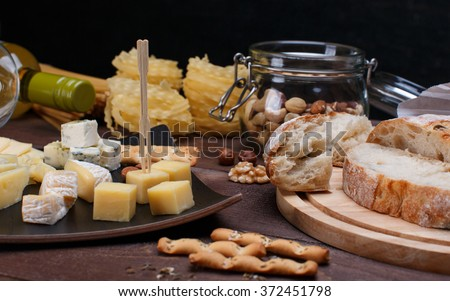 different cheese and bread - stock photo