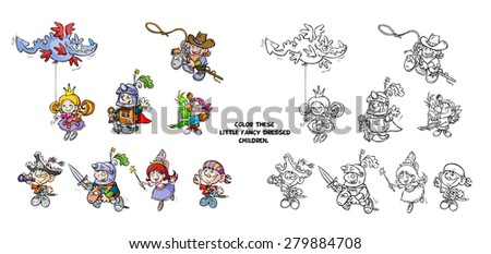 Different children's characters in carnival costumes for coloring. - stock photo