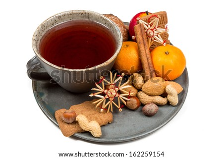 Different christmas accesoires. - stock photo