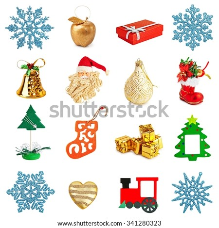 different christmas decorations snowflakes bells christmas tree santa claus train - Different Christmas Decorations