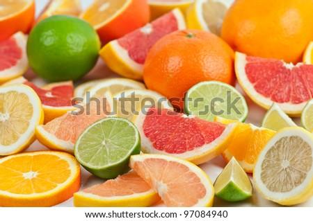different citrus fruit close up - stock photo