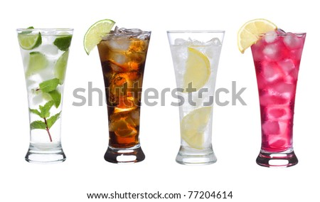 different cocktails with fruits on white background