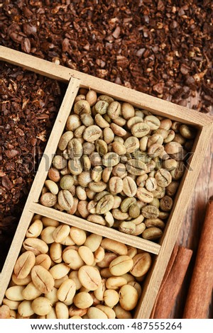 different coffee forms in wooden box