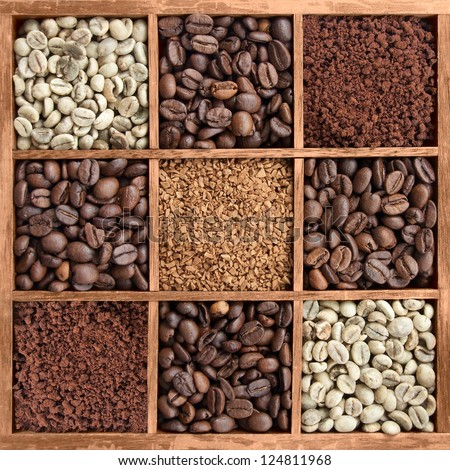 different coffee forms in wooden box (raw and roasted beans, instant coffee powder) - stock photo