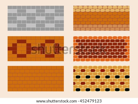 Different color and pattern of the brick laying.  Horizontal.