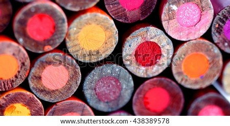 Different color pencils back as background - stock photo