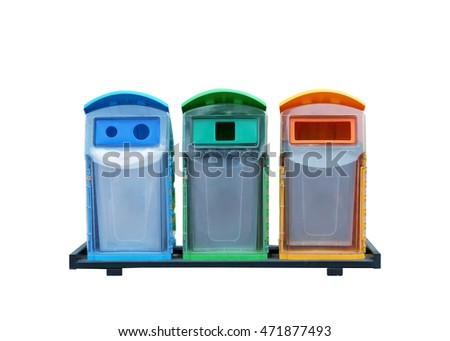 Different colored Bins isolated on white background,With clipping path.