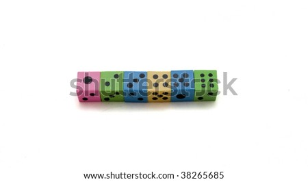 Different colored dices on a white background.