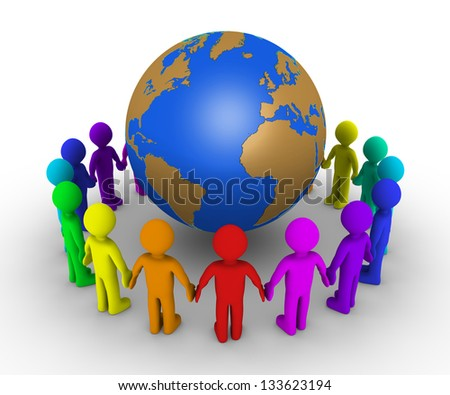 Different colored people form a circle around the globe