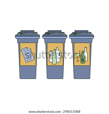 Different Colored Recycle bins, garbage separation with waste icon, illustration of waste management concept - stock photo