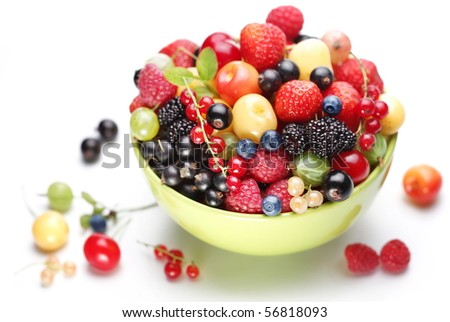Different colorful berries in the bowl. Closeup front shot.