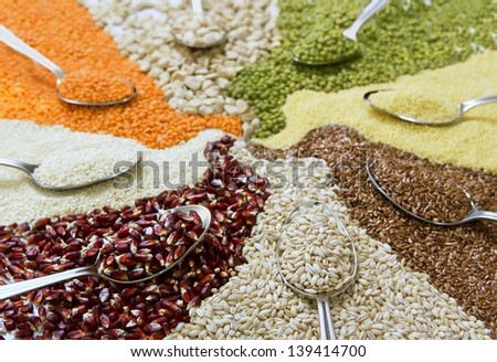 different colorful cereals - stock photo