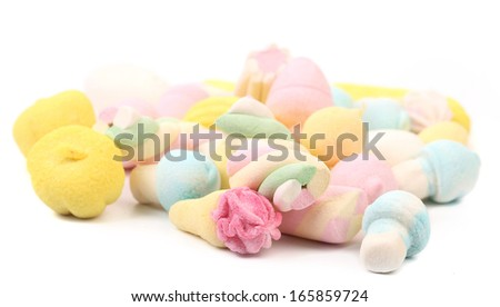 Different Colorful Marshmallow Isolated On White
