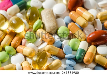 different colorful pills background image - stock photo