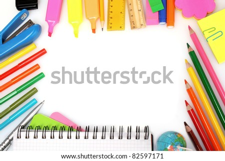 Different colorful stationery isolated on white - stock photo