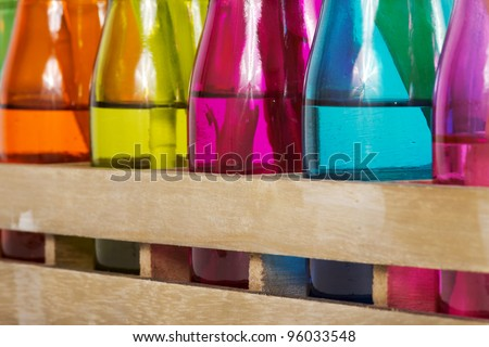Different colorful vases with shallow depth of field - stock photo