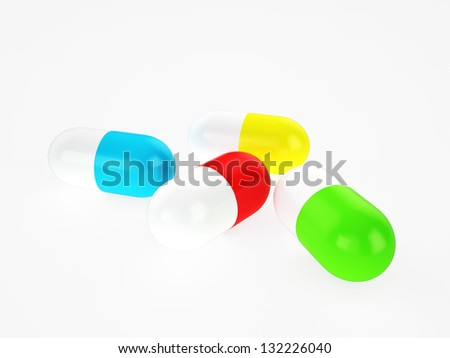 different colors capsules, 3d render