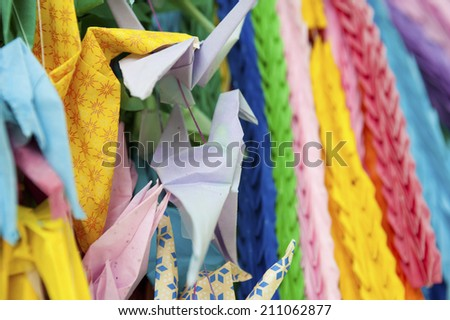 Different Colors Of Paper Cranes