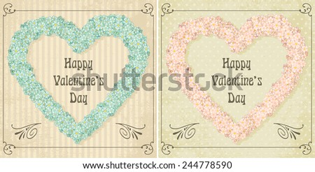Different colors set of vintage Valentine's greeting card - stock photo