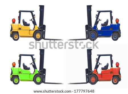 different coloured inductrial fork lift trucks - stock photo
