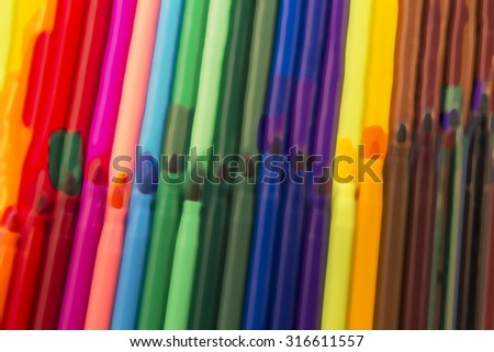 Different coloured pens, stock graph