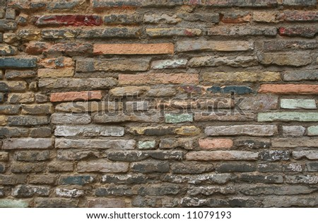 Different colours in old wall - stock photo
