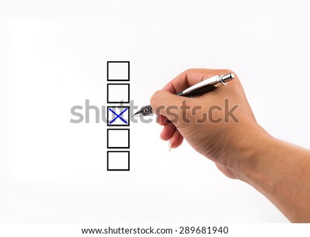 different columns with checkboxes, voting with ball pen by tick - stock photo